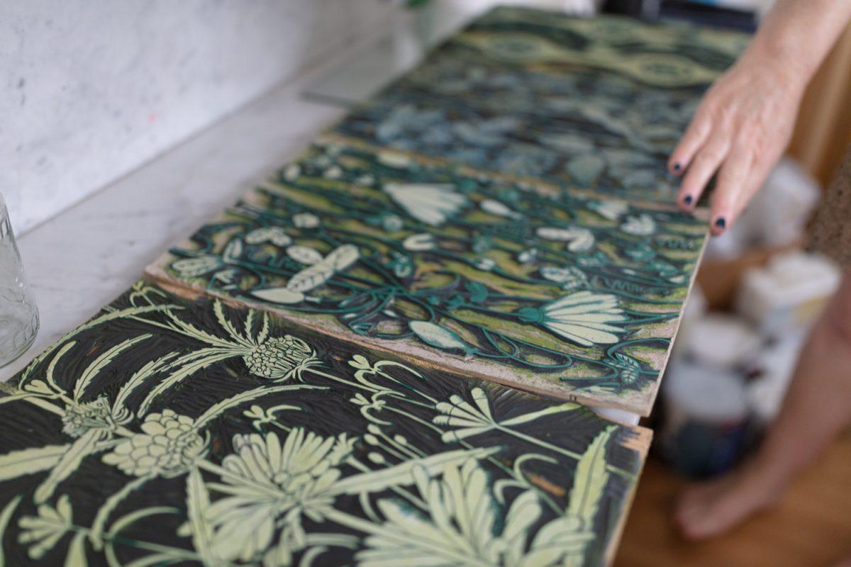 hand printed wallpaper - block printed wallpaper - Louise Altman wallpapers